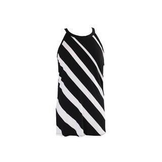 Inc International Concepts Black Striped Halter Top L