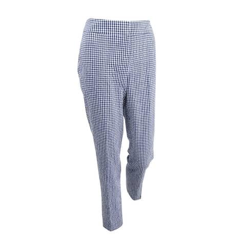 Nine West Women's Gingham-Print Ankle Pants