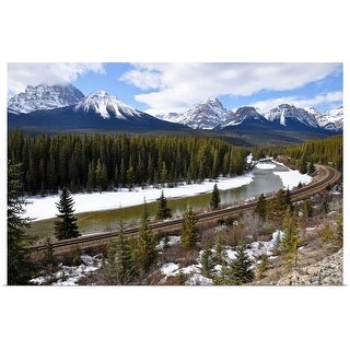 """""""Train Line by Bow River, Alberta, Canada"""" Poster Print"""