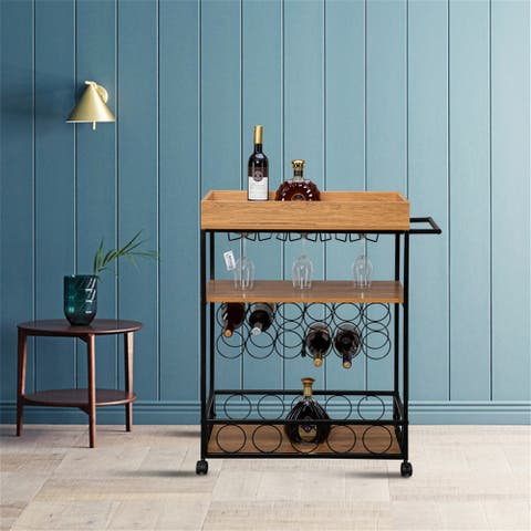 3-Layer Movable Multifunctional Wine Rack Dining Cart Storage Rack