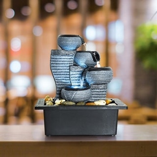 Indoor Portable Waterfall Tabletop Fountains w/LED Lights 10.2-inch H