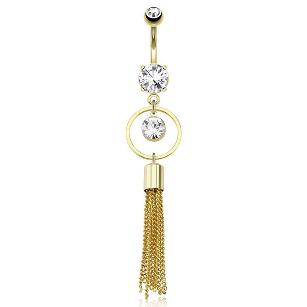 Large Round CZ Round Ring W/ Extending Multi Chain Strings Dangle gold-plated Navel Belly Butto