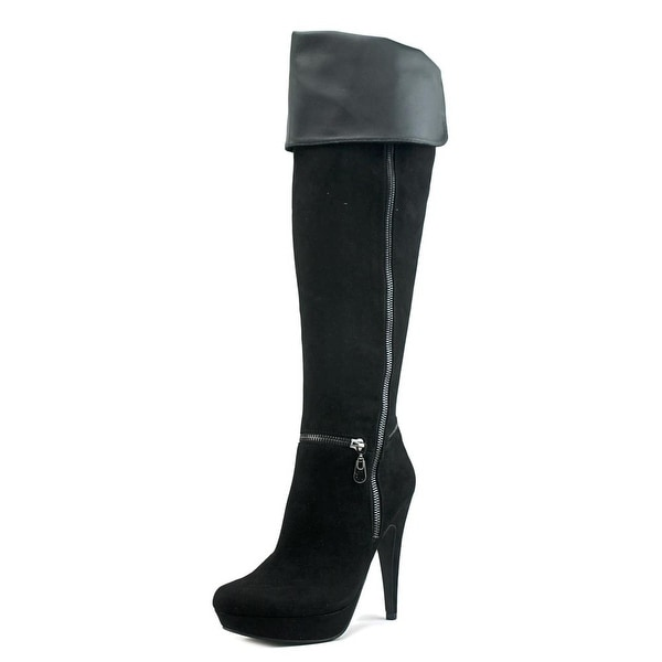 G By Guess Tray 2 Women Round Toe Canvas Black Over the Knee Boot