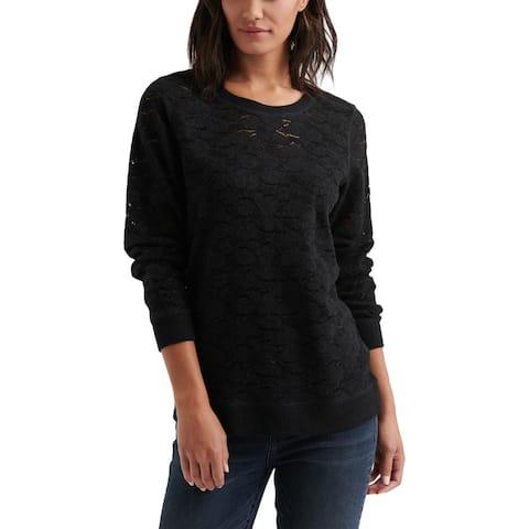 Lucky Brand Womens Tunic Sweater Brushed Lace Lightweight