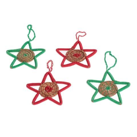 Novica Handmade Native Stars Pine Needle Ornaments (Set Of 4)