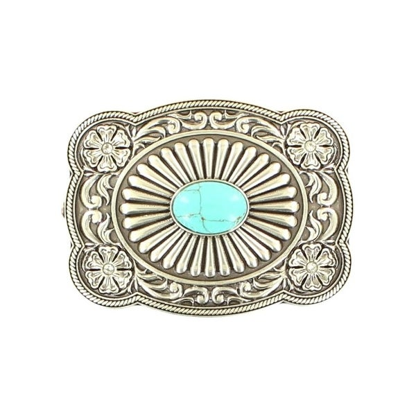 "Nocona Western Belt Buckle Womens Scalloped Silver Turquoise - 3"" x 2 5/8"""