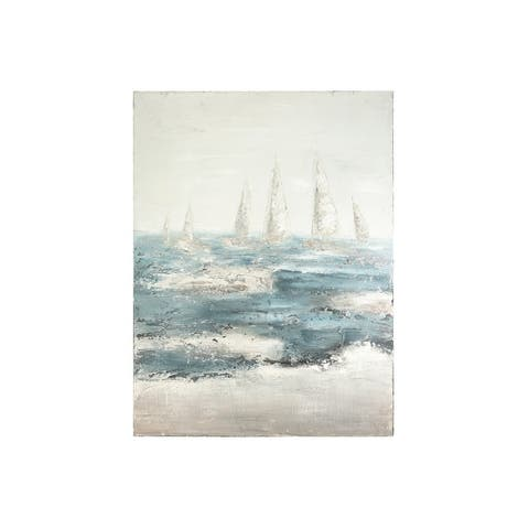 """47.25""""H Hand-Painted Sailboats on Stormy Ocean Canvas Wall Decor - Grey"""
