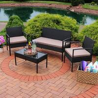 Sunnydaze Anadia 4-Piece Black Rattan Patio Furniture with Taupe Cushions