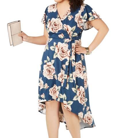 BCX Womens A-Line Dress Blue Size 1X Plus Floral Print Hi-Lo Faux-Wrap