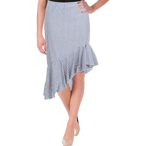 Aqua Womens A-Line Skirt Striped Cascade Ruffle