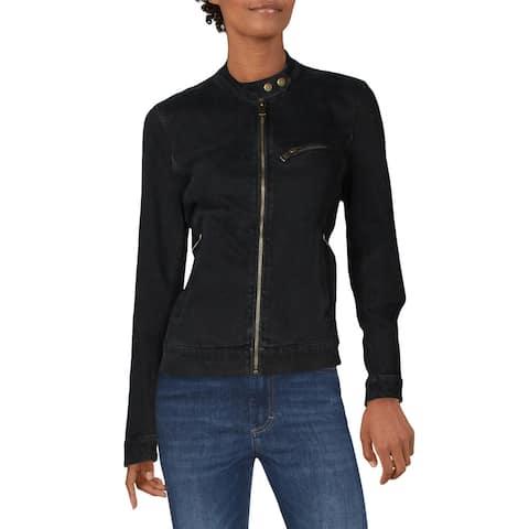 Lauren Ralph Lauren Womens Jean Jacket Denim Zip Front - Chopped Black