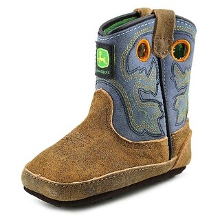 John Deere Johnny Poppers Infant Round Toe Leather Blue Western Boot