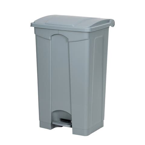Plastic Step-On Trash Can,Grey, Hands-free Disposal, Large Capacity