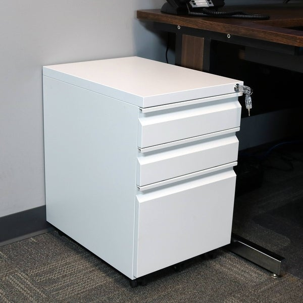 CASL Brands Wheeled Rolling Lockable Mobile File Cabinet with Handles - White
