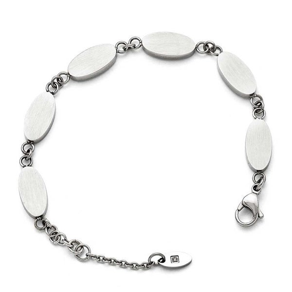 Chisel Stainless Steel Polished and Brushed Reversible with 1in ext CZ Bracelet