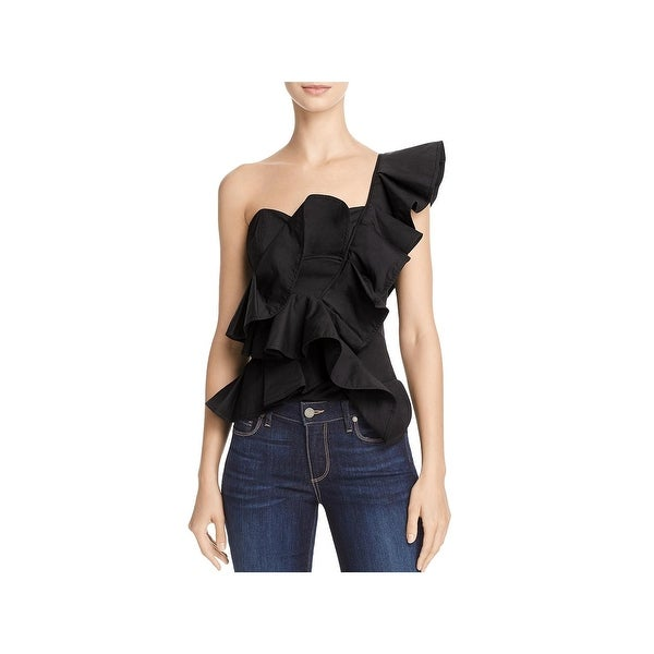a7ef816a8f8 Shop Alpha and Omega Womens Crop Top Ruffled One Shoulder - Free ...