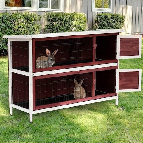 Pawhut 54-inch 2-tier Wood/Wire Rabbit Hutch