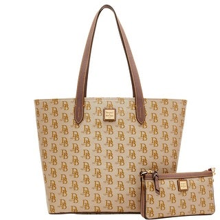 Dooney & Bourke 1975 DB Signature Lg Zip Shopper & Slim Wristlet (Introduced by Dooney & Bourke at $268 in Feb 2017) - elephant