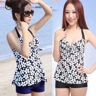 Women Sexy Floral Dots Beach Swimwear Halter Push Up Tank Tops Shorts Swimsuit