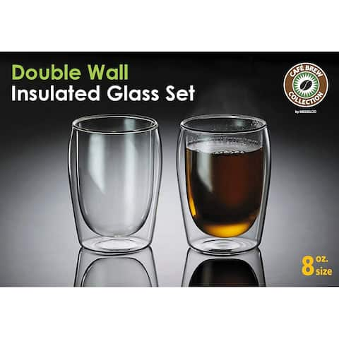 Medelco Cafe Brew Collection 8 Ounce Double Wall Glasses, Set of 2 Borosilicate Insulated Glass for Coffee/Tea