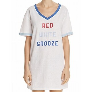 Honeydew NEW White Women Medium M Red-White-Snooze Sleepshirt Sleepwear