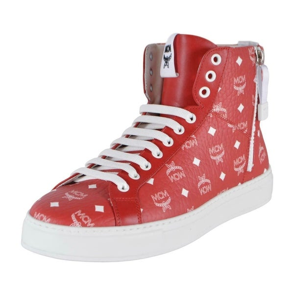 MCM Men's Red White Coated Canvas Visetos Logo High Top Sneakers Shoes 13