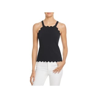 Milly Womens Tank Top Sweater Scalloped Cropped - M