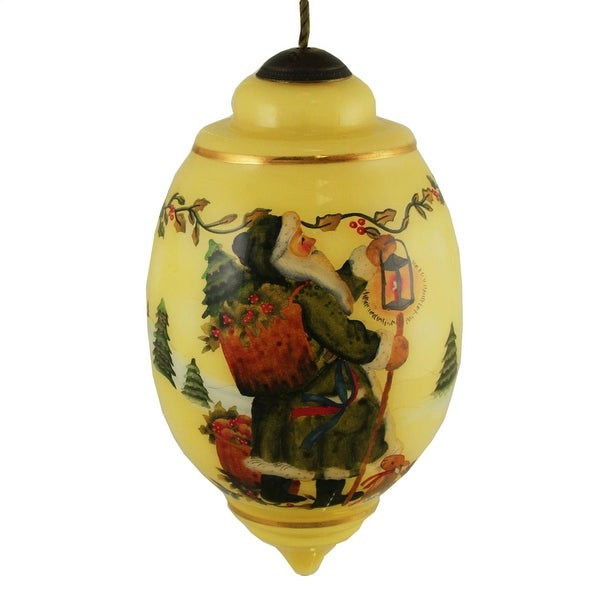 "Ne'Qwa ""Santa's Journey"" Hand-Painted Blown Glass Christmas Ornament #7131126"
