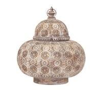 "16"" Distressed Gold Moroccan Style Pierced Metal Pillar Candle Hanging Lantern"