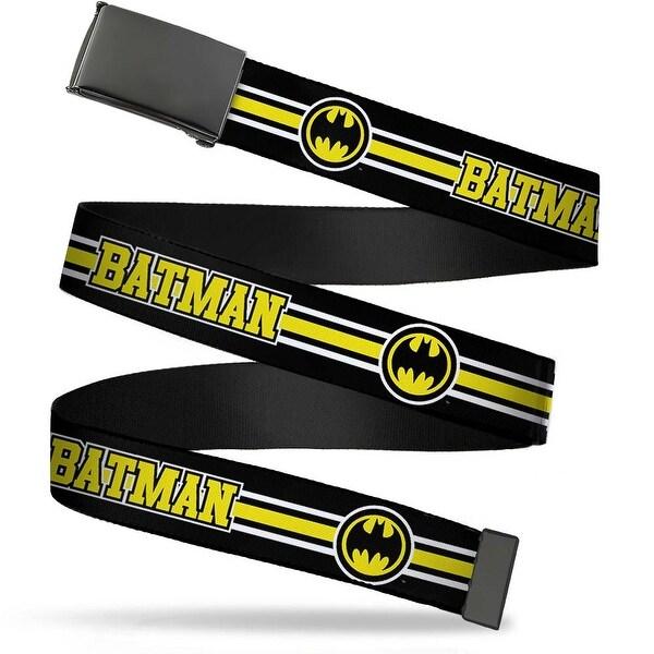 Blank Black Buckle Batman Bat Signal Triple Stripe Black White Yellow Web Belt