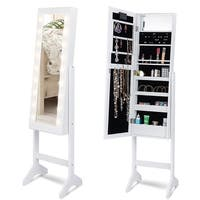 Costway Mirrored Jewelry Cabinet Armoire Organizer Free Standing w/ 18 LED lights White