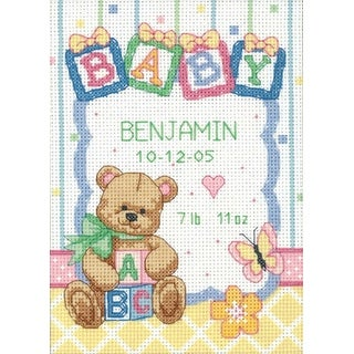 """Baby Hugs Baby Blocks Birth Record Counted Cross Stitch Kit-5""""X7"""" 14 Count"""