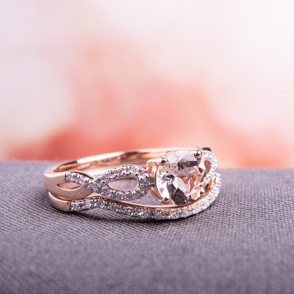 Miadora Signature Collection 10k Rose Gold Morganite and 1/6ct TDW Diamond Bridal Ring Set. Opens flyout.