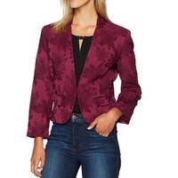 Nine West Pink Womens Size 4 Floral Jacquard Front Clasp Jacket