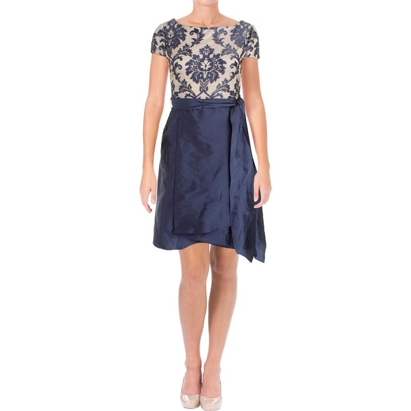 d821f5ae355 Shop Adrianna Papell Womens Cocktail Dress Embroidered Illusion ...