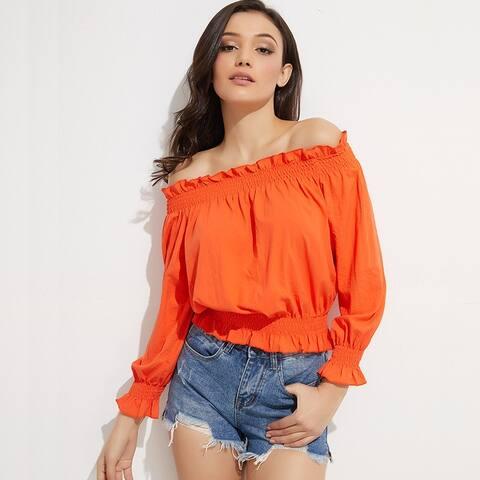2019 New Women's Lantern Sleeves Chiffon Shirt
