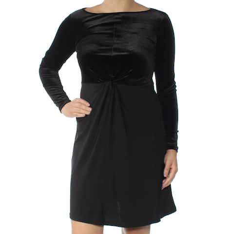 5b86f23e MICHAEL KORS Womens Black Velvet Twist Long Sleeve Jewel Neck Above The  Knee Sheath Cocktail Dress