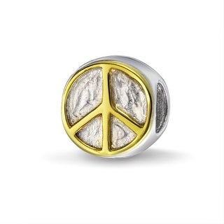 Bling Jewelry Peace Sign Charm Gold Plated 925 Sterling Silver Inspirational Symbol Bead