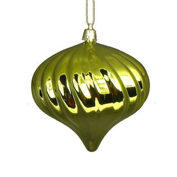 "4ct Shiny Green Kiwi Swirl Shatterproof Onion Christmas Ornaments 4"""