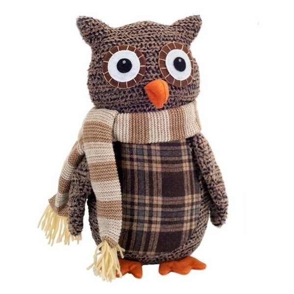 "12.25"" Country Cabin Decorative Plush Brown and Beige Plaid Owl Christmas Table Top Decoration"