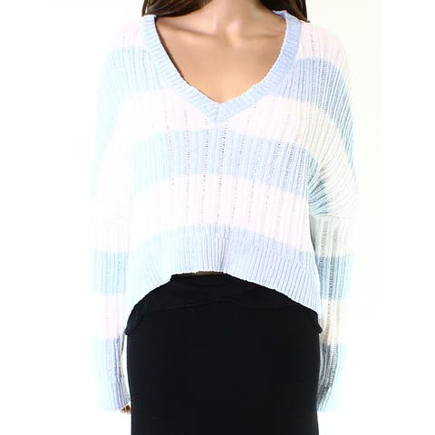 Living Doll Blue White Womens Size Large L V-Neck Knitted Sweater