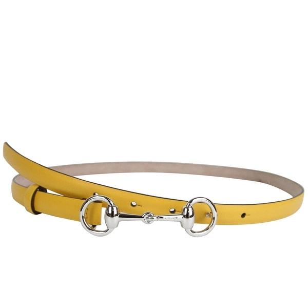 144283ce507 Gucci Women  x27 s Horsebit Buckle Yellow Leather Thin Skinny Belt 282349  7011 -