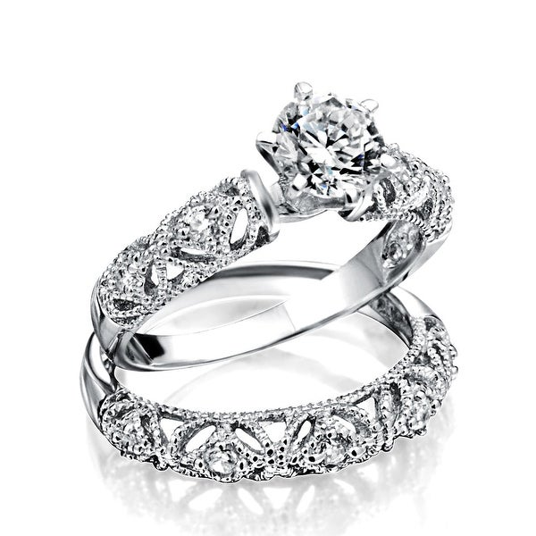 Jewellery 1 CT Art Deco Style Solitaire Round Filigree AAA CZ Pave Contoured Band Engagement Wedding Ring Set 925 Sterling Silver