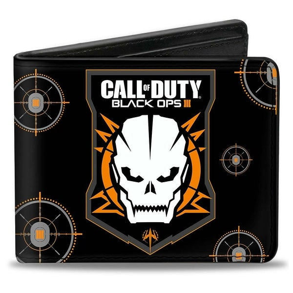 Call Of Duty Black Ops Iii Skull Icon Targets Black Orange Gray White Bi Bi-Fold Wallet - One Size Fits most