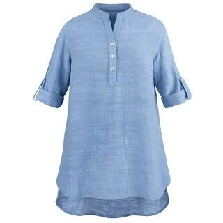 Catalog Classics Women's Soft Slub Cotton Big Shirt Tunic - Roll Tab Sleeve Top