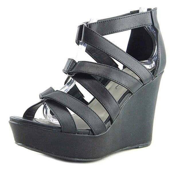 Michael Antonio Rett Women Open Toe Synthetic Black Wedge Sandal