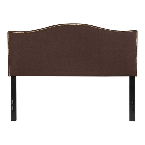 Offex Upholstered Full Size Headboard with Accent Nail Trim in Dark Brown Fabric