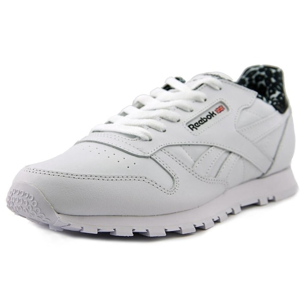 d436510af8321 Reebok Classic Leather Animal Youth Round Toe Leather White Tennis Shoe
