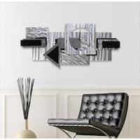 "Statements2000 Abstract Metal Wall Clock Modern Geometric Functional Art by Jon Allen - Dynamic Notions II - 37"" x 17"""