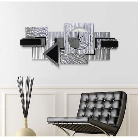 "Statements2000 Abstract Metal Wall Clock Modern Geometric Functional Art by Jon Allen - Dynamic Notions II - 37"" x 17"""